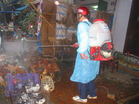 Lực lượng thú y thành phố Hòa Bình triển khai phun thuốc khử trùng tiêu độc tại khu vực chợ Phương Lâm
