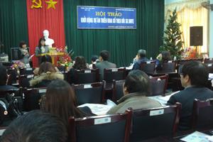Đại diện Cơ quan hợp tác quốc tế Nhật Bản (Jica) phát biểu tại hội nghị.