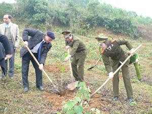 Cán bộ các cơ quan trên địa bàn thành phố tham gia trồng rừng xuân Nhâm Thìn.