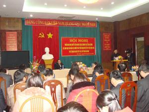 Đồng chí Bùi Ngọc Lâm, TUV, Giám đốc Sở VH-TT&DL tỉnh, Trưởng BCĐ đại hội phát biểu khai mạc hội nghị.