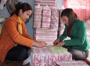 """Gia đình chị Nguyễn Thị Hạnh (bên trái ảnh) là một trong những gia đình hội viên tích cực đăng ký và thực hiện hiệu quả CVĐ """"5 không, 3 sạch""""."""