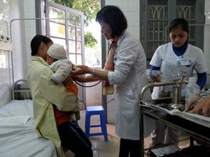 Điều trị  cho trẻ mắc bệnh về đường hô hấp tại Khoa nhi - Bệnh viện đa khoa tỉnh.