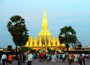 Tháp Thạt Luổng ở Thủ đô Viêng Chăn.
