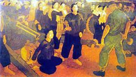 Trái tim và nòng súng. Tranh sơn dầu của Huỳnh Văn Gấm.