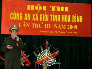 Anh Lê Biên Phòng tại hội thi công an xã giỏi năm 2008.