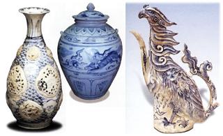 Bình và ấm gốm cổ do Việt Nam xuất khẩu tìm thấy trên tàu đắm ở Cù Lao Chàm