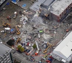 Tòa nhà CTV bị phá hủy bởi động đất.