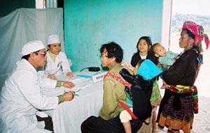 Các bác sĩ Bệnh viện 108 khám bệnh cho đồng bào dân tộc thiểu số.