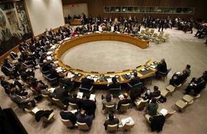 Toàn cảnh cuộc họp của Hội đồng bảo an LHQ về nghị quyết đối với Syria vào đêm qua.