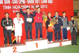 Lãnh đạo Sở VH-TT&DL trao giải cho các VĐV môn quần vợt  nội dung đôi nam từ 51 tuổi trở lên.