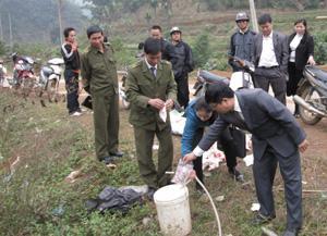 BCĐ 127/ĐP huyện Đà Bắc tổ chức xuất hủy tại chỗ số mì chính giả nhãn hiệu Ajinomoto lưu hành ở các chợ vùng cao.