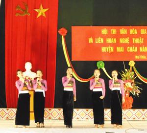 Hàng năm, huyện Mai Châu tổ chức nhiều đợt giao lưu văn nghệ, hội diễn nghệ thuật quần chúng thu hút được đông đảo người dân tham gia.