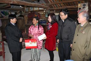 Lãnh đạo huyện Lạc Thủy, Ban Dân vận Tỉnh ủy và Hội Chữ thập đỏ tỉnh thăm hỏi, trao quà tết cho hộ nghèo thuộc xã Đồng Tâm.