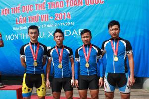 Bộ tứ từ trái qua phải: Linh - Tuần - Quang - Cương của đội xe đạp địa hình Hoà Bình đã thành công lớn tại Đại hội TD -TT toàn quốc lần thứ VII - năm 2014.
