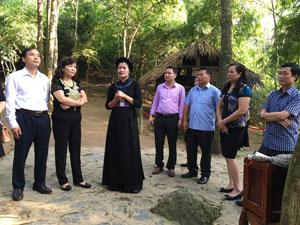 Lãnh đạo các cơ quan báo Đảng khu vực trung du, miền núi phía Bắc   thăm di tích lán Nà Nưa.