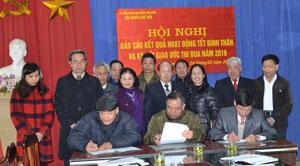 Đại diện hội NCT các huyện, thành phố ký giao ước thi đua năm 2016.