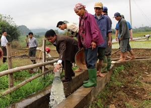 Xã Dân Hạ (Kỳ Sơn) điều tiết nước phục vụ gieo cấy trên đồng ruộng.
