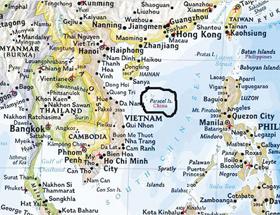 Bản đồ sai sự thật về Hoàng Sa do Hội Địa lý Quốc gia Mỹ ấn hành.
