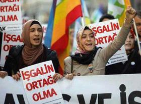 Biểu tình tại TP I-xtan-bun, Thổ Nhĩ Kỳ, phản đối sự can thiệp của phương tây vào Li-bi