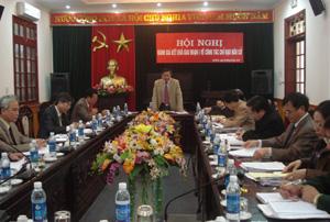 Đồng chí Hoàng Việt Cường, Bí thư Tỉnh uỷ, Chủ tịch HĐND tỉnh, Trưởng BCĐ bầu cử, Chủ tịch Ủy ban Bầu cử tỉnh phát biểu kết luận hội nghị.