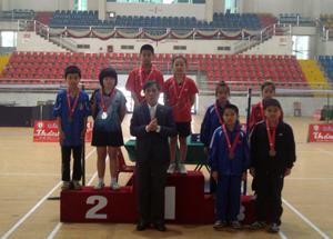Đ/C Nguyễn Minh Thành, GĐ Sở GD&ĐT trao huy chương cho các VĐV bóng bàn nội dung đôi nam nữ tiểu học tại HKPĐ toàn quốc khu vực I - tại Phú Thọ.