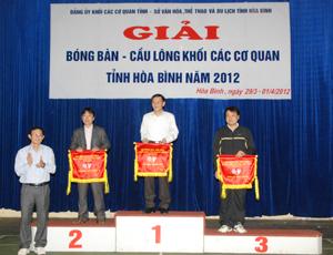 Đồng chí Đoàn Văn Thu TUV, Bí thư Đảng ủy Khối các cơ quan tỉnh  trao cờ  cho các đơn vị đạt giải nhất, nhì, ba toàn đoàn..