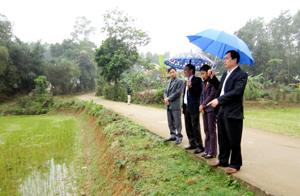 Cán bộ Sở NN&PTNT, UBND huyện Lạc Thủy kiểm tra diện tích lúa xuân mới cấy trên địa bàn xã Cố Nghĩa (Lạc Thủy) nhằm kịp thời nắm bắt tình hình và đưa ra những khuyến cáo hữu hiệu tới bà con nông dân.