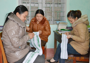 Phụ nữ xã Tân Sơn (Mai Châu) khôi phục nghề thêu thổ cẩm, tăng thu nhập cho gia đình.