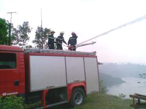 Lực lượng chữa cháy chuyên nghiệp triển khai phương án chữa cháy đồi cây.