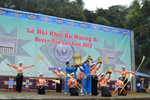 Đội văn nghệ (TT văn hoá, thể thao huyện Tân Lạc) có nhiều tiết mục hay, đóng góp vào thành công của lễ hội Khai hạ Mường Bi hàng năm.