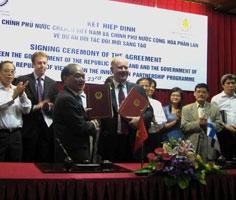 Lễ ký kết hiệp định giữa Chính phủ nước CHXHCN Việt Nam và Chính phủ nước Cộng hoà Phần Lan về Dự án đối tác đổi mới sáng tạo.
