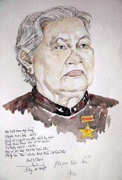 Chân dung Mẹ VNAH Phan Thị Ẩn, sinh năm 1933, có chồng và con trai độc nhất hy sinh (ngụ phường Cái Khế, quận Ninh Kiều) mà Họa sĩ Đặng Ái Việt vừa hoàn thành chiều 30/3.
