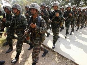 Quân đội Thái Lan tại biên giới.