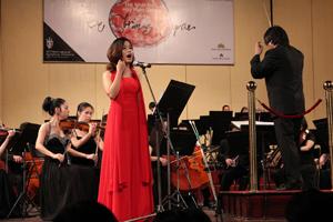 Rất đông người mến mộ âm nhạc thủ đô và khách nước ngoài đến tham dự chương trình hoà nhạc đặc biệt này.