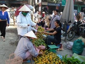 Số đông người tiêu dùng lựa chọn những sản phẩm nông sản được đưa về từ chợ huyện.