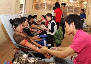 Các tình nguyện viên tham gia hiến máu tại buổi lễ.