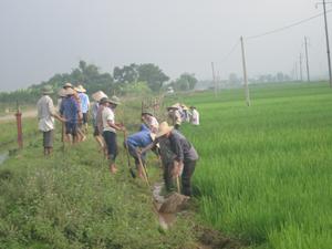 Nhân dân xã Hợp Thành (Kỳ Sơn) huy động ngày công nạo vét kênh mương nội đồng, đảm bảo nước tưới cho sản xuất.