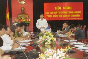 Đồng chí Bùi Văn Cửu, Phó Chủ tịch TT UBND tỉnh, trưởng BCĐ phòng chống dịch bệnh nguy hiểm tỉnh phát biểu kết luận hội nghị.