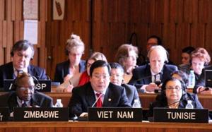 Thứ trưởng Nguyễn Thanh Sơn phát biểu tại phiên họp toàn thể.