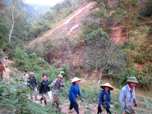 Lực lượng tổ đội quần chúng BVR&PCCCR xã Sủ Ngòi (TP. Hòa Bình) kịp thời khống chế, dập tắt đám cháy.