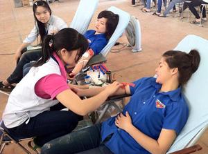 Sinh viên trường Cao đẳng Sư phạm Hòa Hòa Bình tham gia hiến máu tình nguyện.