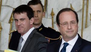 Tổng thống Pháp Francois Hollande (bên phải) và ông Manuel Valls (bên trái), Thủ tướng vừa được bổ nhiệm.