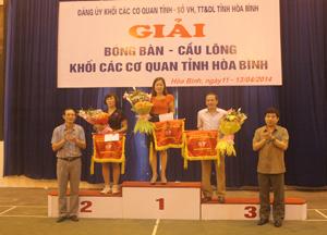 Lãnh đạo Đảng uỷ Khối các cơ quan tỉnh trao cờ cho các đội đạt giải nhất, nhì, ba toàn đoàn.