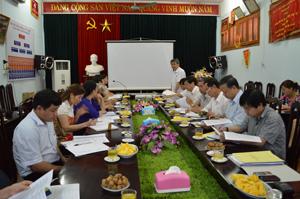 Đồng chí Hoàng Thanh Mịch, TVTU, Chủ tịch UBMTTQ tỉnh, Trưởng Ban VH-XH&DT (HĐND tỉnh) phát biểu tại buổi giám sát.