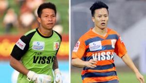 Thủ môn Nguyễn Mạnh Dũng (trái) và tiền vệ Trần Mạnh Dũng. (Ảnh Bóng đá)