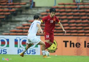 Công Phượng ghi bàn lập hat-trick vào lưới đội U23 Ma Cao (Trung Quốc).  Ảnh: ANH TUẤN