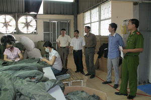 Đoàn kiểm tra thực tế tại Công ty CP May xuất nhập khẩu SMA VINA Việt Hàn.