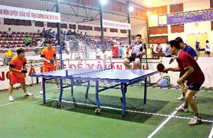 Các VĐV thi đấu bóng bàn đôi nam tại giải thể thao ngành VH -TT&DL năm 2016.