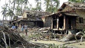Khu vực châu thổ Irrawaddy (Myanmar) sau cơn bão Nargis (năm 2008). (Ảnh: AP)