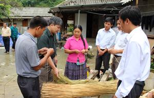 Đồng chí Đinh Văn Dực, TUV, Trưởng Ban dân tộc tỉnh(thứ 2 từ trái sang) và cán bộ nắm bắt việc triển khai mô hình trồng lanh dệt vải tại xóm Pà Cò con, xã Pà Cò(huyện Mai Châu)